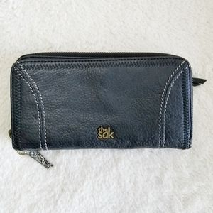 THE SAK Iris Black Genuine Leather Zip Around Wallet